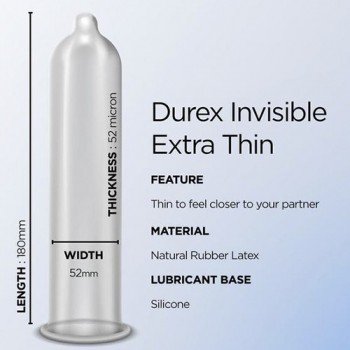 Durex Invisible Extra Thin Extra Lubricated 3 tk